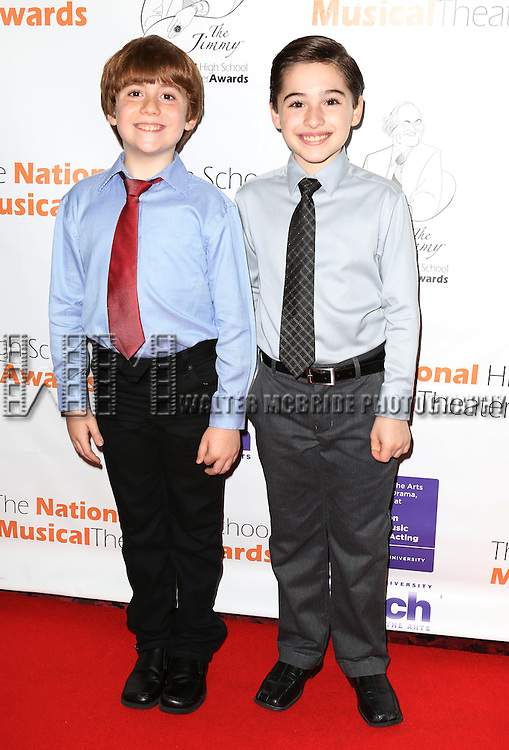 NEWSIES Cast: Nicholas Lampiasi, Joshua Colley attending The 5th Annual National High School Musical Theater Awards (aka The Jimmy Awards) at Minskoff Theater on July 1, 2013 in New York City.