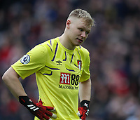 7th March 2020; Anfield, Liverpool, Merseyside, England; English Premier League Football, Liverpool versus AFC Bournemouth; Bournemouth goalkeeper Aaron Ramsdale reacts as his team trail 2-1