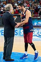 FC Barcelona Lassa player Juan Carlos Navarro with the 2nd position award during the final of Supercopa of Liga Endesa Madrid. September 24, Spain. 2016. (ALTERPHOTOS/BorjaB.Hojas) NORTEPHOTO.COM