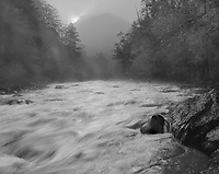 &quot;Little River At The Y&quot; <br /> Great Smoky Mountains National Park, Tennessee<br /> <br /> This picture was recorded shortly after daybreak near the &quot;Y&quot; just inside the Great Smoky Mountains National Park south of Townsend. The camera faced the sun as it was rising behind the mountain at the top center of the image so the scene contrast was substantial. Film development time was decreased to reduce image contrast on the film. I selected a shutter speed to blur the water enough to provide a feeling of movement but still capture the water's flow patterns. I believe the impression of moving water is good and the feeling of downhill movement is strong, especially in the lower left quadrant of the image. The mist rising from the river adds to the early morning mood of the photograph.