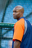 Torii Hunter #48 of the Detroit Tigers before a game against the Los Angeles Angels at Angel Stadium on April 19, 2013 in Anaheim, California. (Larry Goren/Four Seam Images)