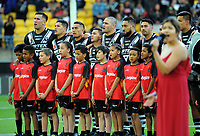 The Kiwis line up to sing the national anthem before the 2017 Rugby League World Cup quarterfinal match between New Zealand Kiwis and Fiji at Wellington Regional Stadium in Wellington, New Zealand on Saturday, 18 November 2017. Photo: Mike Moran / lintottphoto.co.nz