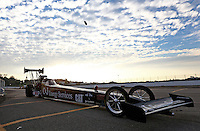 Feb 8, 2014; Pomona, CA, USA; NHRA top fuel dragster driver Bob Vandergriff Jr on the return road during qualifying for the Winternationals at Auto Club Raceway at Pomona. Mandatory Credit: Mark J. Rebilas-