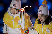 9th February 2018, Pyeongchang, South Korea; 2018 Winter Olympic Games; PyeongChang Olympic Stadium; The Olympic Flame is carried up to the cauldron to be lit by South Korean figure skater who was the 2010 Winter Olympic champion and Kim Yuna the 2014 Olympics silver medalist