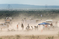A sandstorm kicks up dust at the Spaceport America Cup near the town of Truth or Consequences, New Mexico, Thursday, June 22, 2017. The International Intercollegiate Rocket Engineering Competition hosted over 110 teams from colleges and universities in eleven countries. Students launched solid, liquid, and hybrid rockets to target altitudes of 10,000 and 30,000 feet. The 2017 Spaceport America Cup winner was the University of Michigan, Ann Arbor, Team 79.<br /> <br /> Photo by Matt Nager