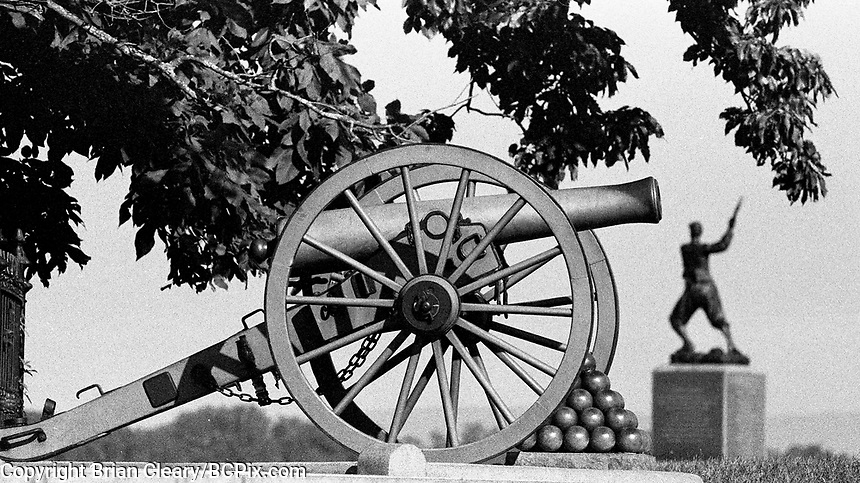 Gettysburg Civil War Battlefield, Gattysburg National Military Park, Gettysburg, Pennsylvania, photographed on Kodak T-Max Film with Canon EOS Elan 7NE SLR 35mm film camera, September 2018. (Photo by Brian Cleary/bcpix.com)