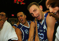 Brendon Polybank and Nick Horvath celebrate after the match during the NBL Semifinal basketball match between the Wellington Saints and Nelson Giants at TSB Bank Arena, Wellington, New Zealand on Thursday, 12 June 2008. Photo: Dave Lintott / lintottphoto.co.nz