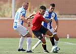 CD Leganes' Vasyl Kravets (l) and Kleandro Lleshi (r) and Rayo Vallecano's Sergio Moreno during friendly match. July 13,2018. (ALTERPHOTOS/Acero)
