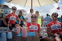 Adam Hansen (AUS/Lotto-Belisol) relaxing before the start with teammates Gert Dockx (BEL/Lotto-Belisol) &amp; Jonas Van Genechten (BEL/Lotto-Belisol)<br /> <br /> Tour of Turkey 2014<br /> stage 5