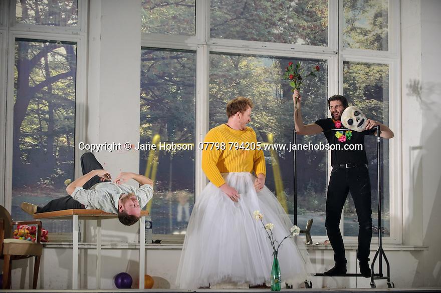 English National Opera presents, in a co-production with Dutch National Opera, Amsterdam, Puccini's LA BOHEME, at the London Coliseum. Picture shows: Nicholas Masters (Colline), Duncan Rock (Marcello), Zach Borichevsky (Rodolfo).