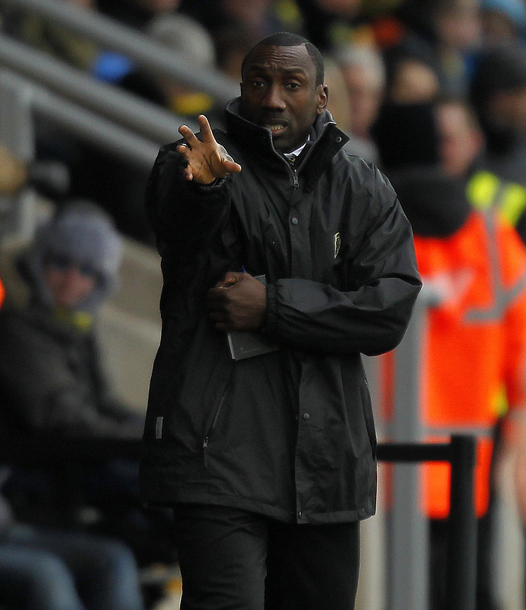 Burton Albion's Manager Jimmy Floyd Hasselbaink<br /> <br /> Photographer Mick Walker/CameraSport<br /> <br /> Football - The Football League Sky Bet League Two - Burton Albion v Bury	 - Saturday 31st January 2015 - Pirelli Stadium - Burton upon Trent<br /> <br /> &copy; CameraSport - 43 Linden Ave. Countesthorpe. Leicester. England. LE8 5PG - Tel: +44 (0) 116 277 4147 - admin@camerasport.com - www.camerasport.com