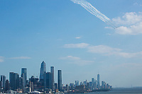 WEST NEW YORK, NJ - JULY 26: The USAF Thunderbirds are seen during a flyover over de Hudson River during Independence Day on July 4, 2020 from West New York, New Jersey .(Photo by Kena Betancur/ VIEWpress via Getty Images)