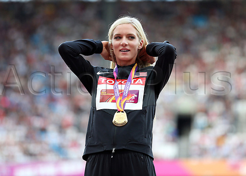 August 12th 2017, London Stadium, East London, England; IAAF World Championships, Day 9; Emma Coburn of the USA with the Gold Medal for the 3000 metres Steeplechase during the medal ceremony