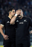 NZ's Anton Lienert-Brown consoles NZ's Karl Tu'inukuafe after the national anthem during the Steinlager Series international rugby match between the New Zealand All Blacks and France at Eden Park in Auckland, New Zealand on Saturday, 9 June 2018. Photo: Dave Lintott / lintottphoto.co.nz