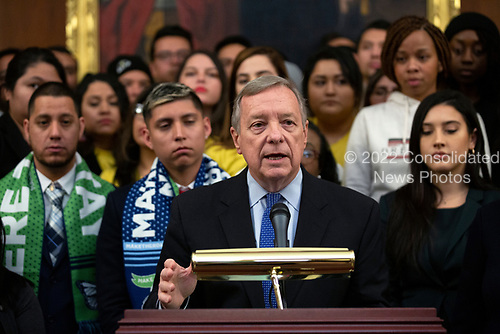 United States Senator Dick Durbin (Republican of Illinois), joined by Democratic lawmakers, speaks during a press conference on the Deferred Action for Childhood Arrivals program on Capitol Hill in Washington D.C., U.S. on Tuesday, November 12, 2019.  The Supreme Court is currently hearing a case that will determine the legality and future of the DACA program.  <br /> <br /> Credit: Stefani Reynolds / CNP