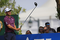 Xander Schauffele (USA) on the 14th tee during the 2nd round of the DP World Tour Championship, Jumeirah Golf Estates, Dubai, United Arab Emirates. 16/11/2018<br /> Picture: Golffile | Fran Caffrey<br /> <br /> <br /> All photo usage must carry mandatory copyright credit (© Golffile | Fran Caffrey)