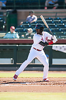 Scottsdale Scorpions left fielder Taylor Trammell (26), of the Cincinnati Reds organization, at bat during an Arizona Fall League game against the Surprise Saguaros at Scottsdale Stadium on October 26, 2018 in Scottsdale, Arizona. Surprise defeated Scottsdale 3-1. (Zachary Lucy/Four Seam Images)
