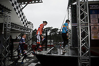 getting to the stage in the pouring rain:<br /> 1/ Thalita Dejong (NLD)<br /> 2/ Caroline Mani (FRA)<br /> 3/ Sanne Cant (BEL)<br /> <br /> Elite Women's race<br /> UCI 2016 cyclocross World Championships