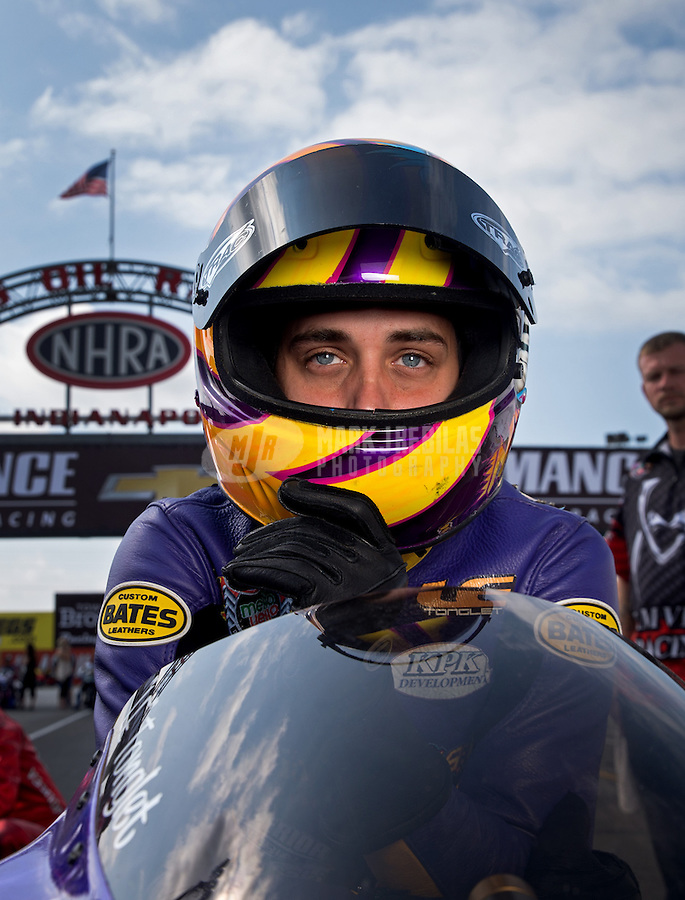 Sept. 1, 2013; Clermont, IN, USA: NHRA pro stock motorcycle rider L.E. Tonglet during qualifying for the US Nationals at Lucas Oil Raceway. Mandatory Credit: Mark J. Rebilas-