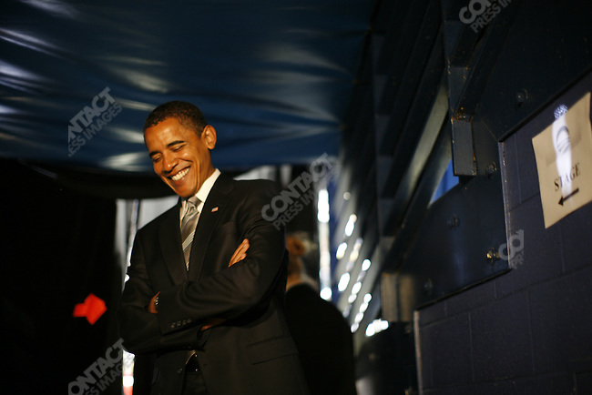 Senator Barack Obama, Democratic presidential candidate, backstage at the Fayetteville Civic Center, prior to speaking at a large rally. Fayetteville, North Carolina, October 19, 2008.