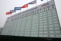 A general view of the scoreboard on the 18th hole during the Wednesday practice round of the 118th U.S. Open Championship at Shinnecock Hills Golf Club in Southampton, NY, USA. 13th June 2018.<br /> Picture: Golffile | Brian Spurlock<br /> <br /> <br /> All photo usage must carry mandatory copyright credit (&copy; Golffile | Brian Spurlock)