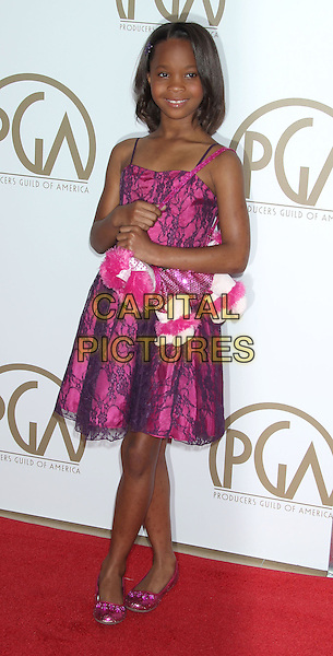 Quvenzhane Wallis.At the 24th Annual Producers Guild Awards held at the Beverly Hilton Hotel, Beverly Hills, California, USA,.26th January 2013..PGAs PGA arrivals full length pink dress lace bag dog poodle .CAP/ADM/RE.©Russ Elliot/AdMedia/Capital Pictures.