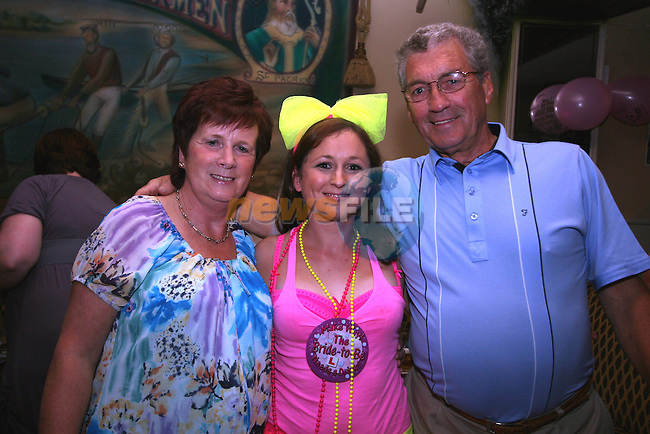 Veronica, Karen and Kevin Murray at Karen's Hen Party in the Riverhouse, Marsh Road. ..Photo NEWSFILE/Jenny Matthews.(Photo credit should read Jenny Matthews/NEWSFILE)....This Picture has been sent you under the condtions enclosed by:.Newsfile Ltd..The Studio,.Millmount Abbey,.Drogheda,.Co Meath..Ireland..Tel: +353(0)41-9871240.Fax: +353(0)41-9871260.GSM: +353(0)86-2500958.email: pictures@newsfile.ie.www.newsfile.ie.FTP: 193.120.102.198.