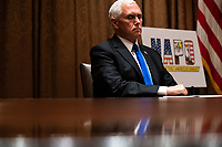 United States Vice President Mike Pence listens during a meeting between President Donald Trump and members of the National Association of Police Organizations Leadership in the Cabinet Room of the White House in Washington, DC, on July 31st, 2020.<br /> Credit: Anna Moneymaker / Pool via CNP /MediaPunch