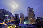 Lightning strikes at night in Philadelphia, Pennsylvania on June 30th 2012. (Photo by Brian Garfinkel)