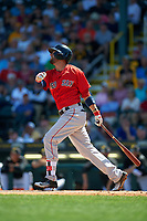 Boston Red Sox shortstop Deven Marrero (16) at bat during a Spring Training game against the Pittsburgh Pirates on March 9, 2016 at McKechnie Field in Bradenton, Florida.  Boston defeated Pittsburgh 6-2.  (Mike Janes/Four Seam Images)