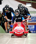 22 November 2009:  Mike Kohn, piloting the USA 3 bobsled, leads his 4-man team to a 14th place finish at the FIBT World Cup competition, in Lake Placid, New York, USA. Mandatory Credit: Ed Wolfstein Photo