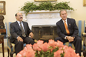 United States President George W. Bush meets Sheikh Sabah Al Ahmed Al Sabah, Acting Prime Minister of Kuwait, in the Oval Office of the White House in Washington, DC on November 7, 2001.<br /> Credit: Ron Sachs / CNP