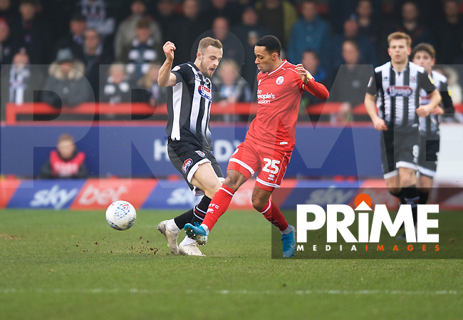 Charles Vernam of Grimsby Town and Josh Dacres-Cogley of Crawley Town during the Sky Bet League 2 match between Crawley Town and Grimsby Town at The People's Pension Stadium, Crawley, England on 25 January 2020. Photo by Alan  Stanford / PRiME Media Images.
