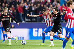 Julian Baumgartlinger (r) of Bayer 04 Leverkusen battles for the ball with Lucas Hernandez of Atletico de Madrid during their 2016-17 UEFA Champions League Round of 16 second leg match between Atletico de Madrid and Bayer 04 Leverkusen at the Estadio Vicente Calderon on 15 March 2017 in Madrid, Spain. Photo by Diego Gonzalez Souto / Power Sport Images