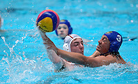 PICTURE BY ALEX WHITEHEAD/SWPIX.COM - Water Polo - Water Polo National Age Group Championships 2013 - Manchester Aquatics Centre, Manchester, England - 28/04/13 - Lancaster (white) v Essex (blue) in the Youth Boys bronze medal match.