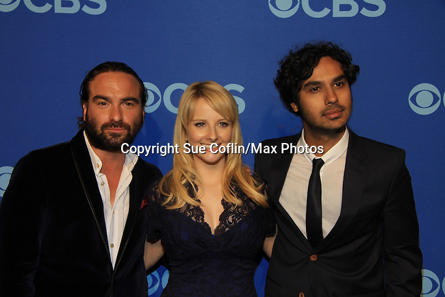 Johnny Galecki, Melissa Rauch, Kuhal Hayyar - Big Bang Theory at at the CBS Upfront on May 15, 2013 at Lincoln Center, New York City, New York. (Photo by Sue Coflin/Max Photos)