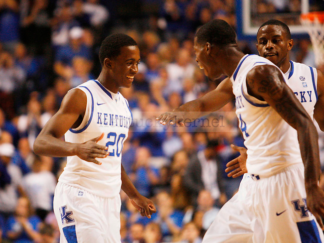 Doron Lamb recieves high fives from teammates after scoring a 3-pointer in the first half of UK's game aginst ETSU at Rupp Arena on  Friday Nov. 12 , 2010. Photo by Britney McIntosh | Staff
