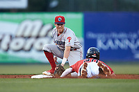 Lakewood BlueClaws shortstop Nick Maton (6) waits to apply a tag to Tate Blackman (20) of the Kannapolis Intimidators as he attempts to steal second base at Kannapolis Intimidators Stadium on April 6, 2018 in Kannapolis, North Carolina.  The BlueClaws defeated the Intimidators 4-3. (Brian Westerholt/Four Seam Images)