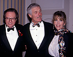 Larry King, Jane Fonda and Ted Turner attend the ATAS Academy of Television Arts and Sciences Hall of Fame Awards on September 1, 1996 at Walt Disney Worls in Orlando, Florida.