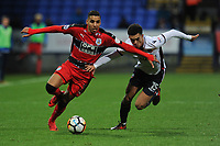 Abdelhamid Sabiri of Huddersfield Town battles for the ball with Antonee Robinson of Bolton Wanderers during Bolton Wanderers vs Huddersfield Town, Emirates FA Cup Football at the Macron Stadium on 6th January 2018