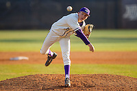 High Point Panthers relief pitcher Sean Barry (17) delivers a pitch to the plate against the Bowling Green Falcons at Willard Stadium on March 9, 2014 in High Point, North Carolina.  The Falcons defeated the Panthers 7-4.  (Brian Westerholt/Four Seam Images)