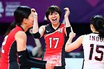 Rika Nomoto (JPN), <br /> SEPTEMBER 1, 2018 - Volleyball : <br /> Women's Bronze Medal match<br /> between Japan 1-2 Korea <br /> at Gelora Bung Karno Indoor Tennis Stadium <br /> during the 2018 Jakarta Palembang Asian Games <br /> in Jakarta, Indonesia. <br /> (Photo by Naoki Nishimura/AFLO SPORT)