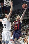Real Madrid's Jonas Maciulis (l) and FC Barcelona's Marcelinho Huertas during Liga Endesa ACB 2nd Final Match.June 21,2015. (ALTERPHOTOS/Acero)