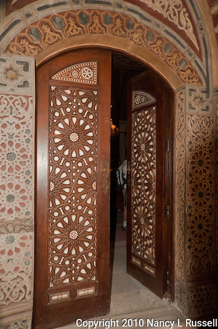Intricately carved door in the Hanging Church