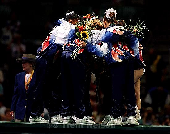 US Team hugs at Womens Team Gymnastics at the 1996 Summer Olympic Games<br />