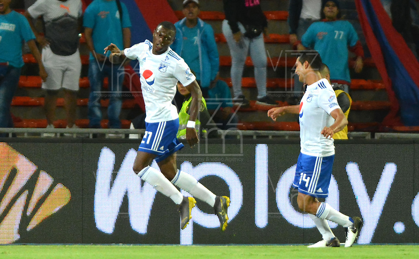 MEDELLÍN - COLOMBIA .21-09-2019:Fabian González Lasso  jugador de Millonarios celebra después de anotar un gol al Independiente Medellín  durante partido por la fecha 12 de la Liga Águila II 2019 jugado en el estadio Atanasio Girardot de la ciudad de Medellín. /Fabian Gonzalez Lasso player of Millonarios  celebrates after scoring a goal agaisnt  of Independiente Medellin during the match for the date 12 of the Liga Aguila II 2019 played at the Atanasio Girardot  Stadium in Medellin  city. Photo: VizzorImage /León Monsalve / Contribuidor.