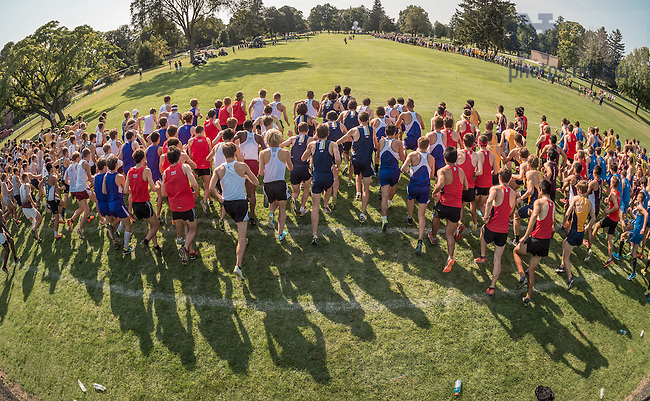 Sep. 19, 2014; Start of the men's race in the Cross Country National Catholic Championships. (Photo by Matt Cashore/University of Notre Dame)
