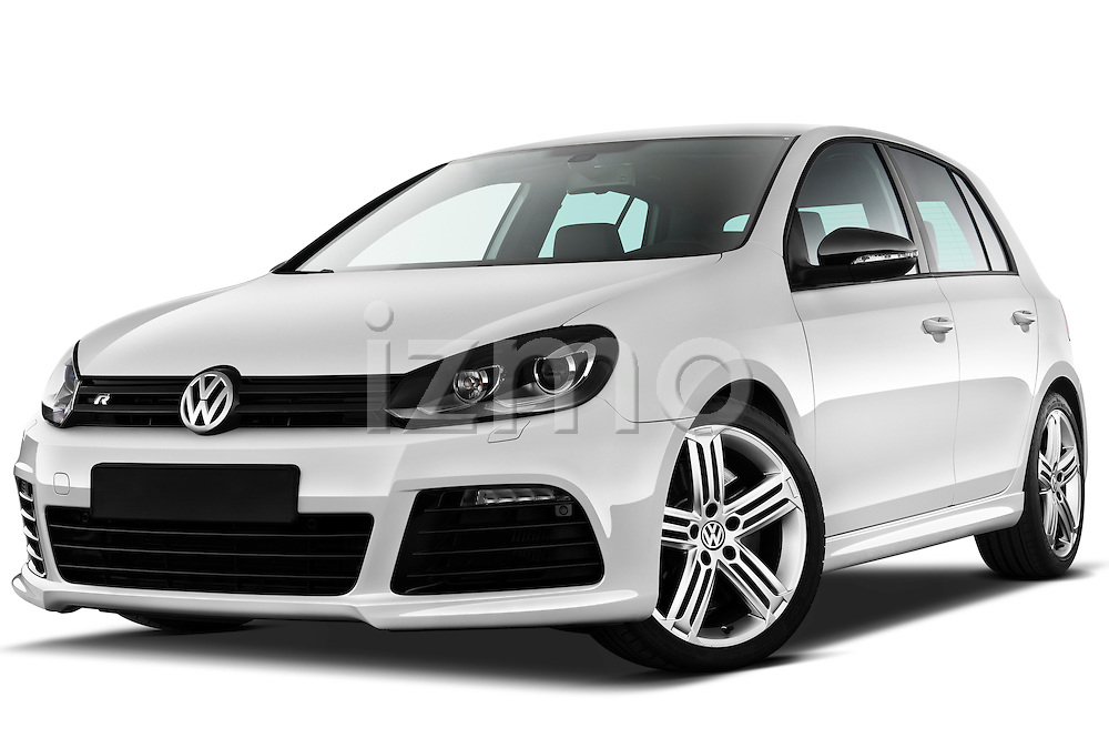 Low aggressive front three quarter view of 2011 Volkswagen Golf R 5 Door Hatchback Stock Photo