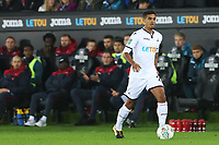 Kyle Naughton of Swansea City is watched by Swansea City manager Paul Clement during the Carabao Cup Fourth Round match between Swansea City and Manchester United at the Liberty Stadium, Swansea, Wales, UK. Tuesday 24 October 2017