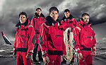 Dongfeng Race Team sailors pose during the official photo session at the Serenity Marina in Sanya, China on 21 February 2014. Photo by Victor Fraile / Power Sport Images